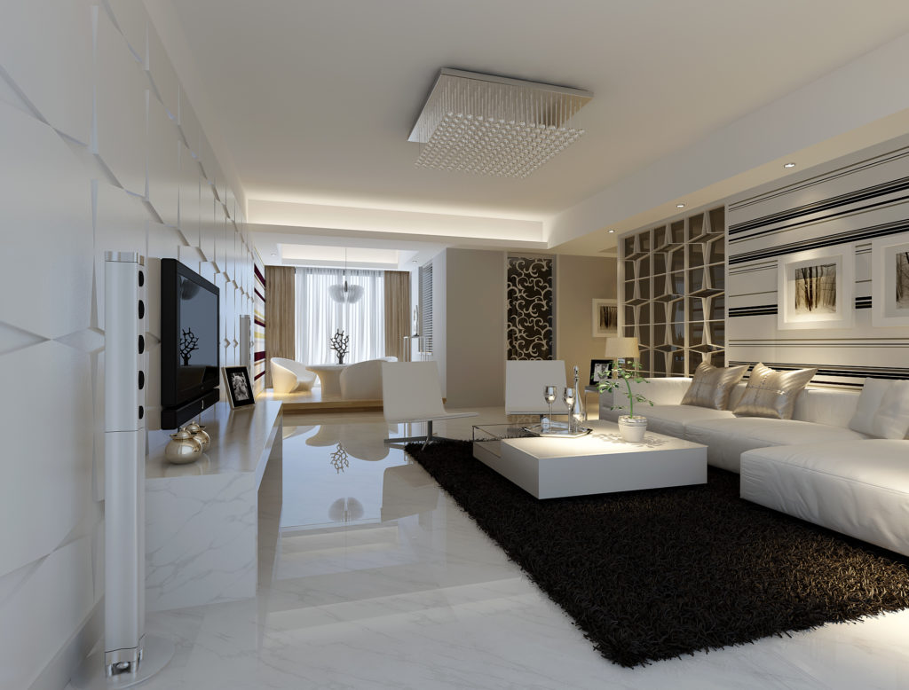 living area with white marble floor