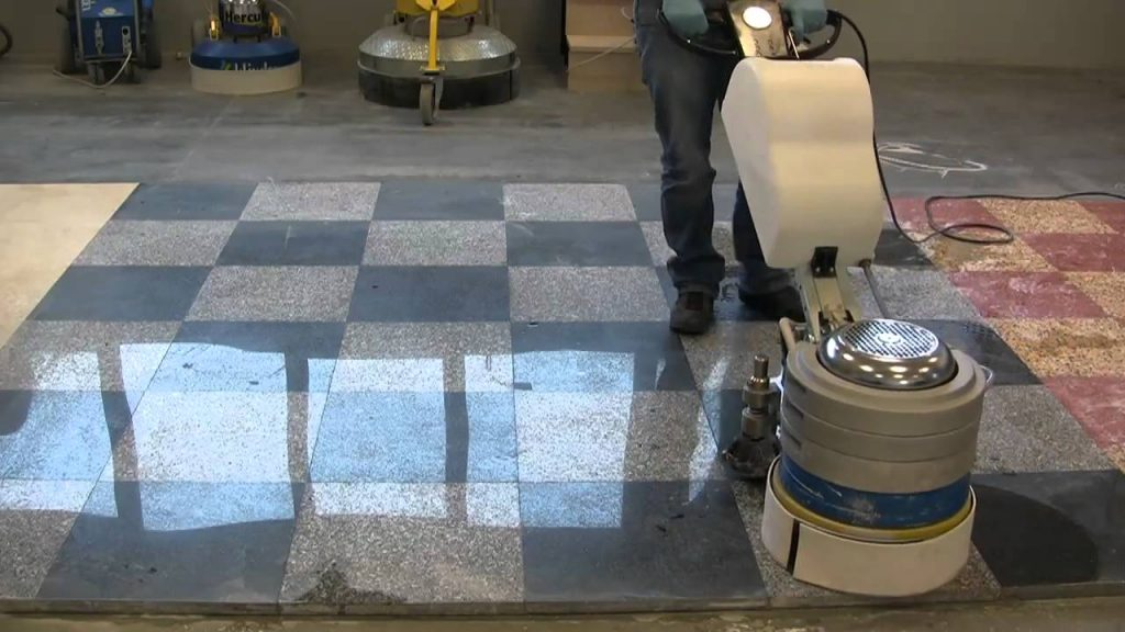 granite floor being polished with machine